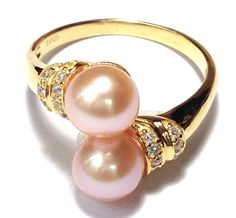 Solid 14K & 18K Y Gold Diamond Twin Peach Pink Round Pearl Ring Size 4 - 9 #Handmade #Friendship