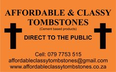 Affordable & Classy Tombstones 079 775 3515