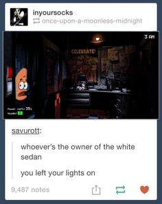 Patrick in Five Nights At Freddy's. Love that episode of spongebob