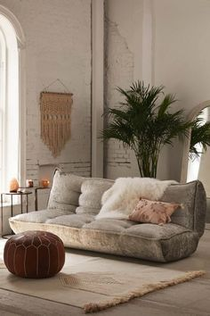 Greta Crushed Velvet XL Sleeper Sofa at Urban Outfitters Boho Living Room, Living Room Decor, Bedroom Decor, Living Rooms, Futon Bedroom, Bedroom Seating, Bedroom Ideas, Sofa Design, Interior Design