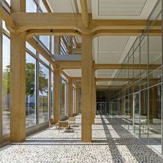Image 8 of 52 from gallery of Tamedia Office Building / Shigeru Ban Architects. Photograph by Shigeru Ban Architects Timber Architecture, Timber Buildings, Contemporary Architecture, Architecture Design, Building Architecture, Shigeru Ban, Timber Structure, Building Structure, Zurich