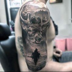 Realistic Badass Deer Wilderness Outdoor Half Sleeve Guys Tattoos