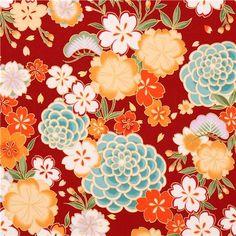 roter Asia Blume Kirschblüten Stoff mit Gold von Kokka 1