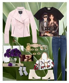 """leather jacket"" by selukeyho on Polyvore featuring Marc New York, MM6 Maison Margiela, J Brand, Tory Burch, Burberry, EF Collection, Charlotte Tilbury and Gucci"