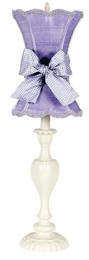 Shade - Med - Scallop Hourglass - Lavender on Lamp Base - LG - Curvy Candle - Ivory