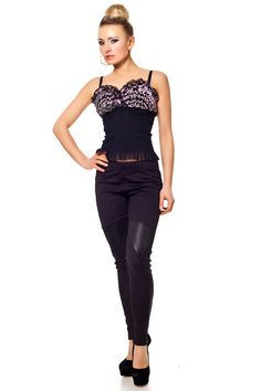 Treggings Slim Fit Röhrenhose mit Leder Look Deko