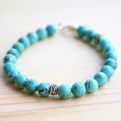 """Men's Turquoise Beaded Bracelet with Sterling Silver Charm and Clasp 6.5""""-8.5"""""""