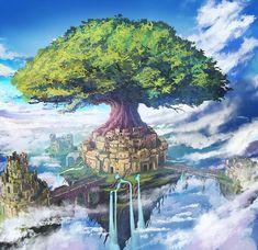 Mobile Game City Floating Island by mrainbowwj. on Mobile Game City Floating Is Fantasy City, Fantasy Castle, World Of Fantasy, Fantasy Places, Fantasy Island, Castle In The Sky, Fantasy Landscape, Landscape Art, Fantasy Setting