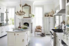 Kitchen in white.  Annie Brahler's Jacksonville, Illinois, home. Interior design by Annie Brahler, owner ofEuro Trash.