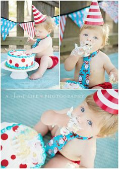 Adorable baby's 1st birthday cake smash photo session idea! ♡ Child & Family Photography ♡