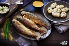 "Marble Trout from Soča River in corn flour with ""čompe"" (potatoe)"