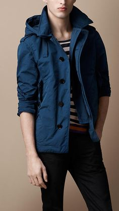 Lightweight hooded jacket in azure blue. Burberry