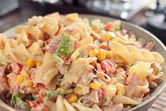 My easy pasta salad with bacon and tomatoes is my family's all-time favorite, and it's THE recipe everyone asks for! Bacon Tomato Pasta, Penne Pasta Salads, Tomato Pasta Salad, Easy Pasta Salad Recipe, Salad Recipes With Bacon, Bacon Recipes, Side Dishes Easy, Food Inspiration, Food And Drink