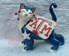 Blue/Red WhimsiClay AGGIE cat sculpture #WhimsiClay