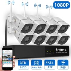 1080P Wireless Security Camera System, Firstrend 8CH Wireless NVR System with 8pcs 1080P HD Security Camera and 3TB Hard Drive Pre-Installed,P2P Wireless...