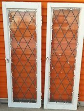 RARE TRANSOM WINDOWS PAIR ANTIQUE VINTAGE ART DECO LEADED ENGLISH GLASS CRAFTS