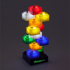 UncommonGoods: electric light blocks... for $40 #uncommongoods - LEGO like stack-able bricks lamp light