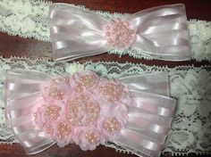 Sweet soft pink and ivory heirloom quality garter set. Pretty shadow stripped ribbon has a pink flower encrusted with pink pearls on Etsy, $39.00