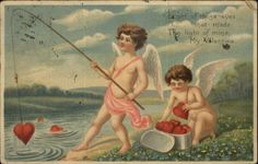 Valentine Cupids Fishing For Hearts Embossed Greeting c1910 Old Postcard