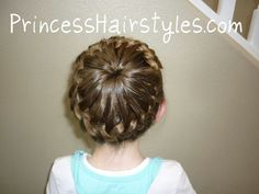 french braided crown. Create a ponytail in the middle of your head with an even amount of hair out around it. French braid normally around the pony tail