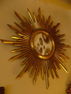 Rare BIG Vintage WOOD STARBURST Mirror French 1960's Sunburst Convex Mid Century Art Deco Christmas Gift 1950 Decoration Gold Christmas on Etsy, $438.80 AUD