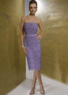 Column Strapless Belt Sleeveless Knee-length   mother of the groom dress