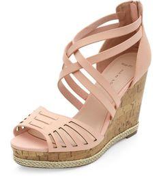 4d143c33e2985 Wide Fit Pink Laser Cut Woven Trim Wedges - Now £13. Emma Morris ·  Bridesmaid Shoes