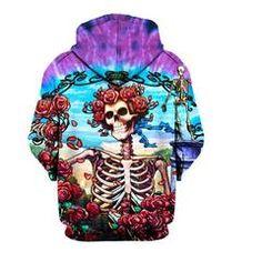 Paradise Skull 3D Hoodie #skull #skullsforchange #skeleton #roses #summer
