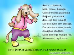 Poezie terapeutica: Jeni, joacă-te mai mult! Obiective: corectarea sunetului J; adoptarea unui stil sănătos de viață School Coloring Pages, Kids Poems, Kids Education, Nursery Rhymes, Jena, Winnie The Pooh, Preschool, Learning, Parenting