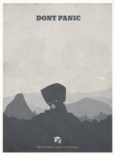 https://flic.kr/p/awS3NB | The Hitchhiker's Guide to the Galaxy - Minimalist Poster | This week I chose a movie that I bought from iTunes (the danish store now sells movies - finally!!). There's a lot of clever minimalist posters out there for this movie - but none really depicts Deep Thought. I tried to use the computer as the main subject - and squeezed in 42 and a whale too :-)