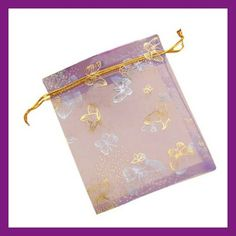 20 Butterfly Organza Bags Gold and Silver on Purple by SupplyTyme, $4.50
