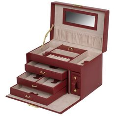 Wolf Designs. Heritage Chelsea Large Jewelry Case with Three Drawers and Travel Case in Scarlet $99