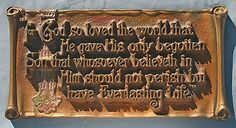 1928 Large Scripture Plaque A E Mitchell Co John 3 16 God So Loved The World | eBay
