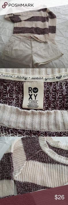 Roxy sweater Cute Roxy sweater is size large with cream and garnet stripes. Bundle with Roxy shorts from my closet! Roxy Sweaters Crew & Scoop Necks
