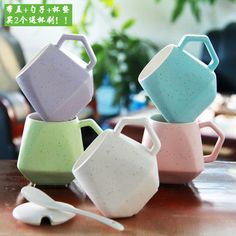 Modern Design Ceramic Coffee Mugs w/Lid 3 Colors