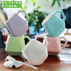 Modern Design Ceramic Coffee Mugs w/Lid 3 Colors