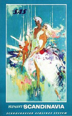 Vintage travel poster: SAS - Danish artist Otto Nielsen (1916-2000)
