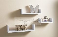 Set Of 3 Different Sizes U Shaped Wooden Floating Shelf Available in black,White (White): Amazon.co.uk: Kitchen & Home