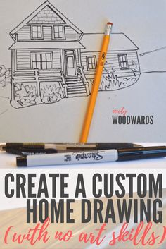 Create a custom home drawing - the cheater way. (No skills or fancy supplies needed.)