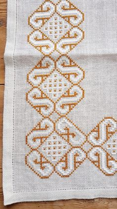 Beautiful cross stitch embroidered tablecloth in white linen | Etsy
