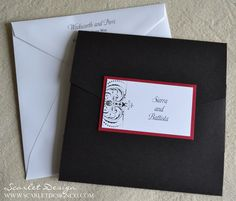 wedding invitation  black, white and red