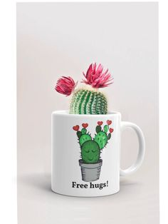 How about free hugs from your coffee mug? #etsy shop: Cactus mug, cactus gift, cactus print, printed mug, cute coffee mug, succulent mug, succulent gift, funny cactus, funny coffee mug, cute mug
