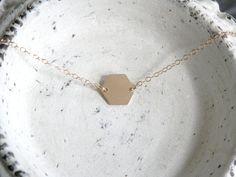 Tiny Hexagon Charm Necklace // 14k Gold Geometric by ransomjewelry
