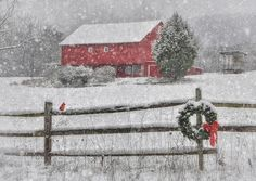 Clarks Valley Christmas by Lori Deiter. Red barn in the snow with a wreathe on the wooden fence Country Christmas, Winter Christmas, Winter Snow, Christmas Time, Xmas, Merry Christmas, Purple Christmas, Primitive Christmas, Petits Cottages