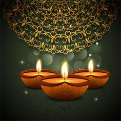 Bokeh background with ornamental diwali candles  Free Vector