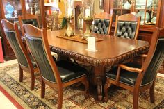 Look at this elegant, solid wood dining room set! #shopGF | Houston TX | Gallery Furniture |