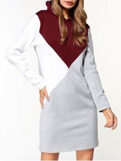 Fleece Color Block Hoodie Dress - GRAY M