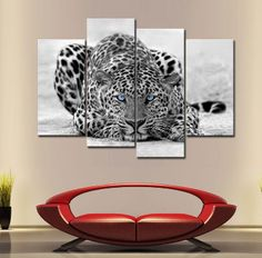 4 Pieces Black & White Wall Art Painting Blue Eyed Leopard Prints On Canvas