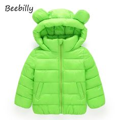 BEEBILLY Girls Winter Jackets Boys Cartoon Style Girl Fashion Outerwear Baby Girls Clothes Hooded Jacket for Girls Cotton Parkas
