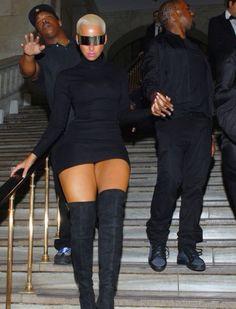 Amber Rose: black mini thigh high boots